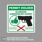 Alabama Concealed Carry Permit Holder Sticker Decal Vinyl 2a Permited V2