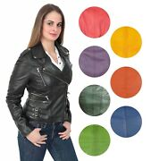 Womens Biker Style Leather Jacket Girls Trendy Fitted Coat In A Range Of Colours