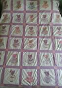 Vintage 30 Square Sunbonnet Sue Quilt Hand Stitched Feedsack Fabric 79 X 66andfrac12