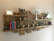 Wooden Wall Unit Display Floating Rustic Reclaimed Shelf Various Colours And Sizes