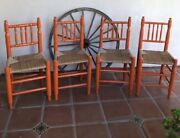 Monterey Spanish Mexican Revival Rare Painted Hand Woven Antique Chairs 4
