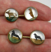Vintage Rare 14k Gold Dog Bear Bunny Reverse Painted Crystal Cuff Links