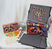 Vintage 1967 Hasbro Lite Brite And Number Accessory Kit Cib Works W/ Pegs, Sheets