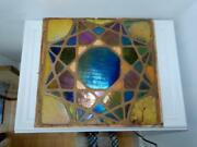 Antique Mosaic Art Glass Panel Large 15 X 15 Wall Tile Style Star Blue