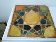 Antique Mosaic Art Glass Panel Large 15 X 15 Wall Tile Arts And Crafts Gold