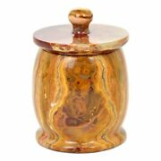 Multi Brown Onyx Bathroom Canister | Cotton Ball Holder Of Pacific Collection