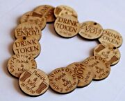 Personalised Oak Drink Tokens Wedding Favours Circlesparty Celebration Wooden