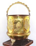 Antique Footed Brass Copper Kettle Cauldron Vessel Pot W Handle And Applied Deco