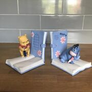 Extremely Rare Disney Winnie The Pooh With Eeyore Figurine Bookends Statue Set