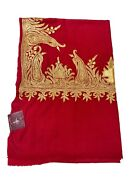Pure Pashmina Scarf With Zari Hand Embroidery Pure Cashmere Scarf Red Stoles