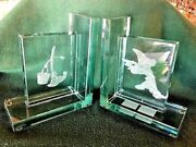 Extremely Rare Walt Disney Mickey Mouse Fantasia Glass Bookends Le Of 500 Set