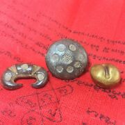 Ancient Thai Old Money Siam Podduang Ingot Currency Token Antique Coins 3pc Rare
