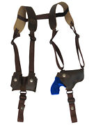 New Brown Leather Horizontal Shoulder Holster W/ Speed-loader Pouch 2 Revolvers