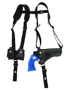 New Black Leather Horizontal Shoulder Holster W/ Speed-loader Pouch 4 Revolvers