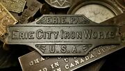 1880and039s Erie City Iron Works Steam Engine Brass Industrial Age Antique Plaque