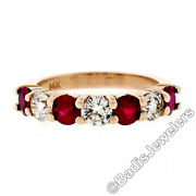 New 14k Rose Gold 4.25mm Shared Prong 2.29ctw Big Round Diamond And Ruby Band Ring