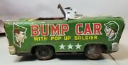 Vintage Tin Toy Bump Car With Pop Up Soldier 1950's - Missing Soldier 53b