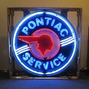 Pontiac Service Authorized Neon Sign Car Garage Neon Light In 36 Steel Can