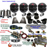 B Air Suspension Kit 3/8 Manifold Shock Relocater 1958-64 Chevy Impala 5 Gal