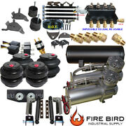 D Chevy S10 Air Kit 5gal 2500 Bags 3/8 Valve Shock Relocater Fittings 5 Gal