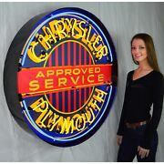 Chrysler Approved Service Plymouth Licensed Sign Beer Neon Sign In Steel Can 36