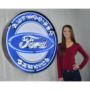 Ford Olp Authorized Service Licensed Sign Car Garage Neon Sign In Steel Can 36