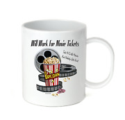 Coffee Cup Mug Travel 11 15 Oz Theatre Will Work For Movie Tickets Show Theater