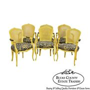 French Louis Xv Style Custom Set Of 6 Yellow Cane Back Arm Chairs