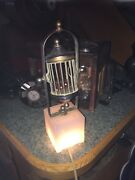 Antique / Old Chuck-a-luck Table Lamp 3 Dice Perfect Cage Works Dice Base Casino