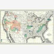 Topographic Survey Of The United States, 1888 Antique Map