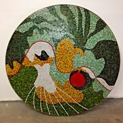 Vintage Mid-century 1960and039s One Of A Kind Mosaic Coffee/dining Table-wall/floor