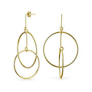 Round Two Circle Dangle Stud Earrings Gold Plated Sterling Silver