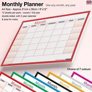 A4 Month Planner Wall / Desk Monthly Planner Calendar Double Sided Generic ✔red