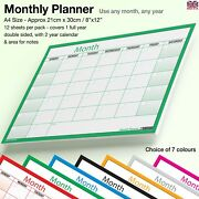 A4 Month Planner Wall / Desk Monthly Planner Calendar Double Sided Generic✔green