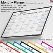 A4 Month Planner Desk / Wall Monthly Planner Calendar Double Sided Generic✔black