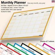 A4 Month Planner ✔desk✔wall Monthly Planner Calendar Double Sided Generic✔orange