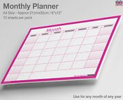A4 Month Planner Desk / Wall Monthly Planner Calendar Double Sided Generic ✔pink