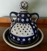 Boleslawiec Polish Pottery 2 Pc. Cheese/butter Holder Woman With Apron