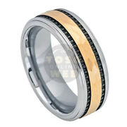 Menand039s 8mm 2 Tone Stepped Edge Polish Yellow Gold And Black Ip Tungsten Ring Ts7130