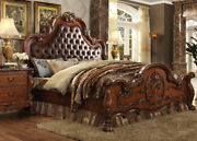 Antique Cherry Oak Tufted Headboard Bedroom Furniture Eastern King Size Bed 1pc