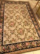 Reduced Petit Point Needlepoint Floral Rug Size 58 X 89. No Shpg.
