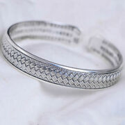 Real Solid 999 Pure Silver Cuff Bracelet Braided Jewelry