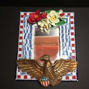 Handmade America Themed Bald Eagle Mosaic Mirror With Flowers - Signed
