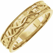 New Men's 14k Yellow Gold Crown Of Thorns Comfort Fit Ring