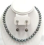 South Sea Cultured 9mm Black Pearl Necklace And 18k Gold Diamond 10mm Earring Set