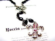 Sterling Silver Rosary Style Fleur Necklace Pendant