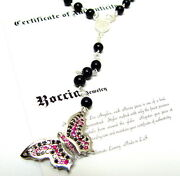 Sterling Silver Rosary Style Butterfly Necklace Pendant With Black Diamonds
