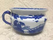 Vintage, Ironstone, Variant Blue Willow, Invalid-adult Chamber Pot 11inx9inx6in