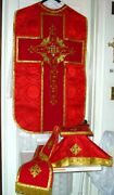 Red Chasuble Vestment Fiddleback Clergy Priest Maniple,stole,veil,burse Trad
