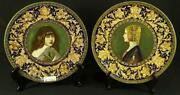 Portrait Chargers, Pair Of Vintage Italian Majolica